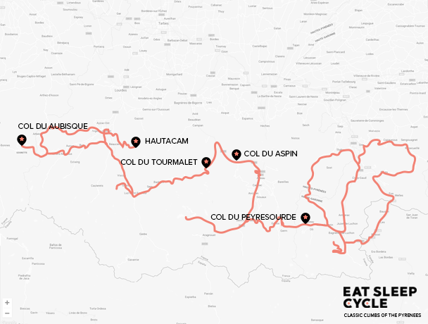 Map - Classic Climbs of the Pyrenees Cycle Tour