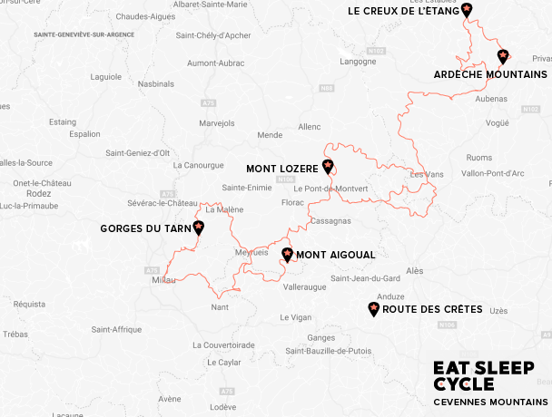 Eat-Sleep-Cycle-Cevennes-Mountains-Map-European-Cycling-Tour