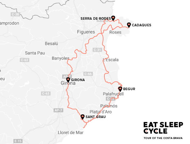 Tour-of-the-Costa-Brava-Map-Eat-Sleep-Cycle-Cycling-Tour-Europe
