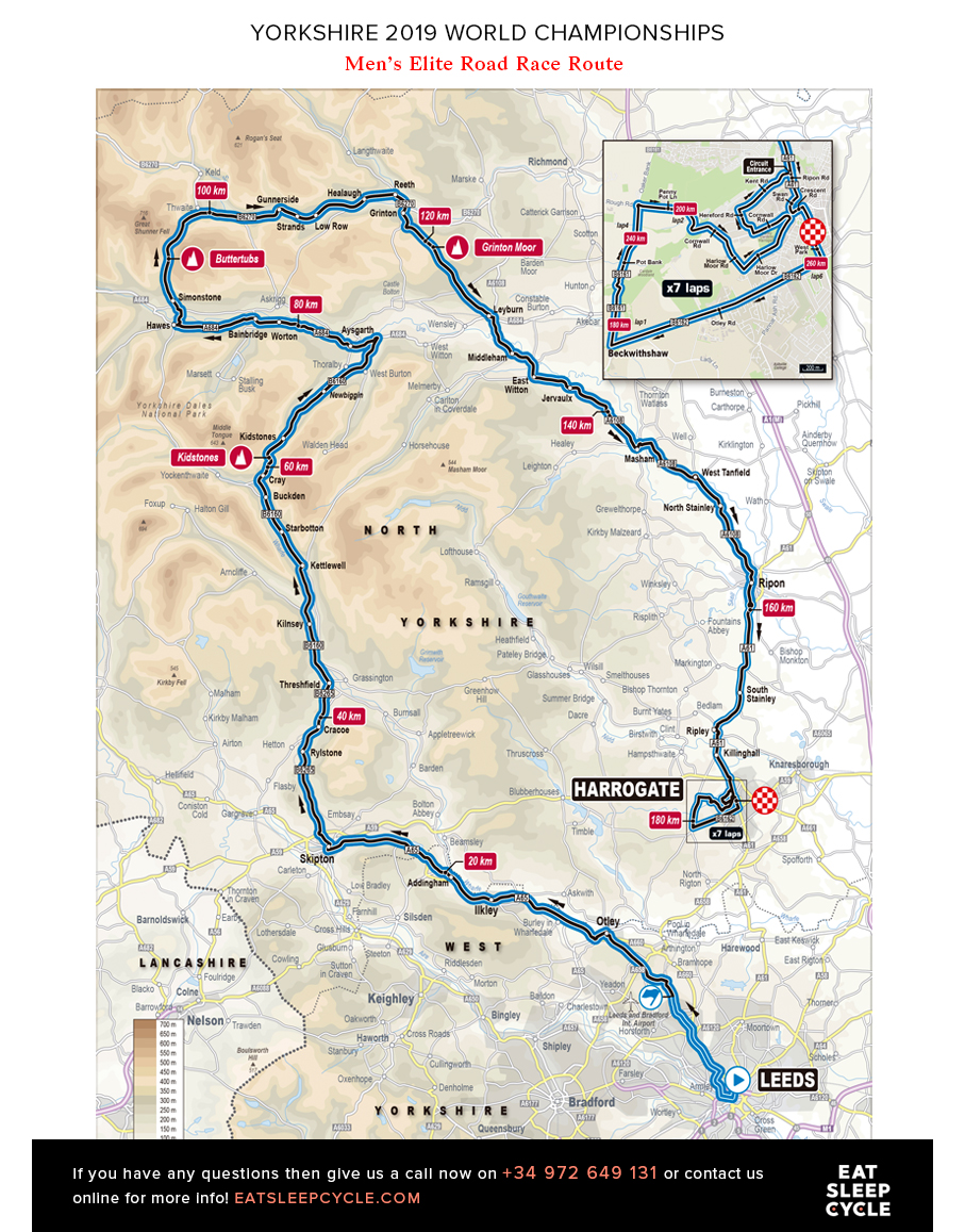 Yorkshire Cycling Tours - Men's Elite Road Race Route - ESC