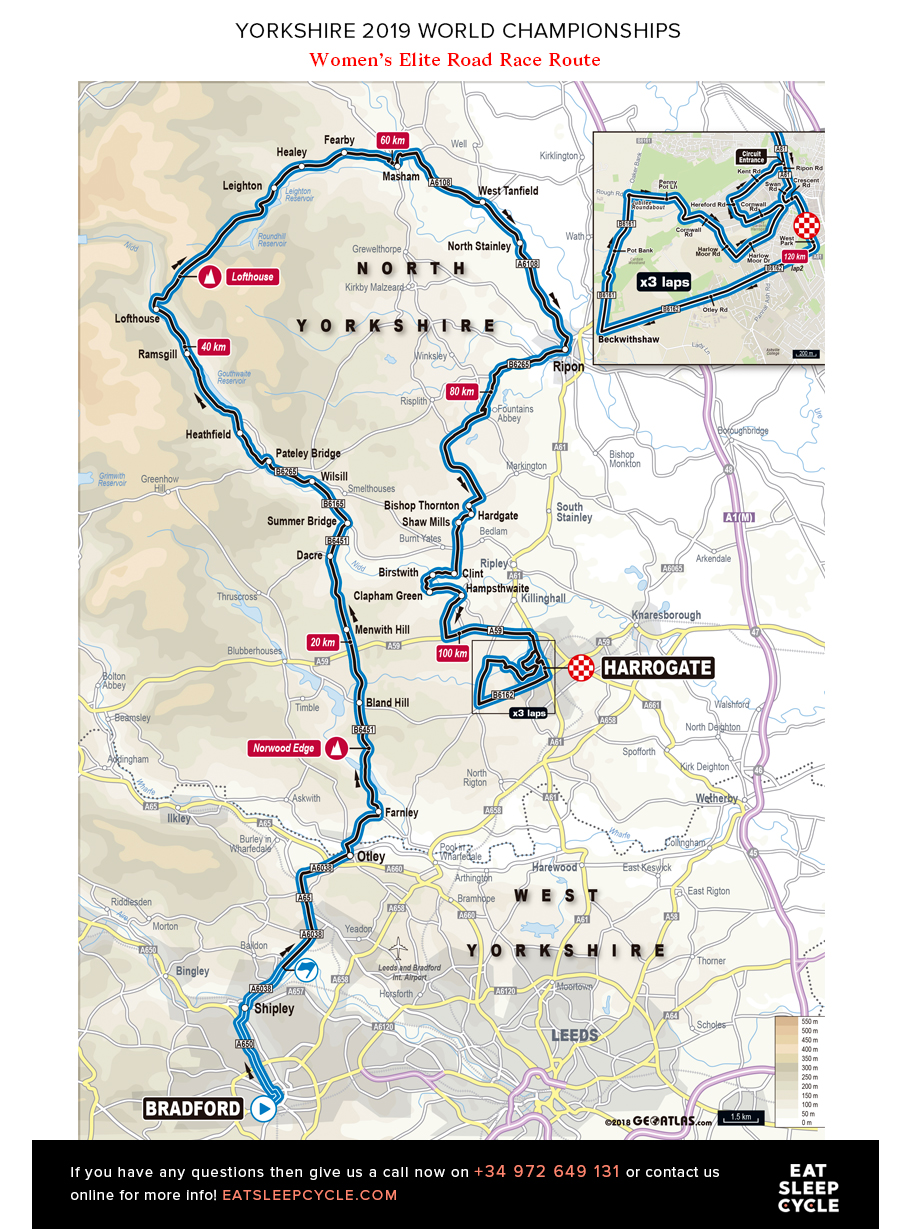 Yorkshire Cycling Tours - Women's Elite Road Race Route - ESC