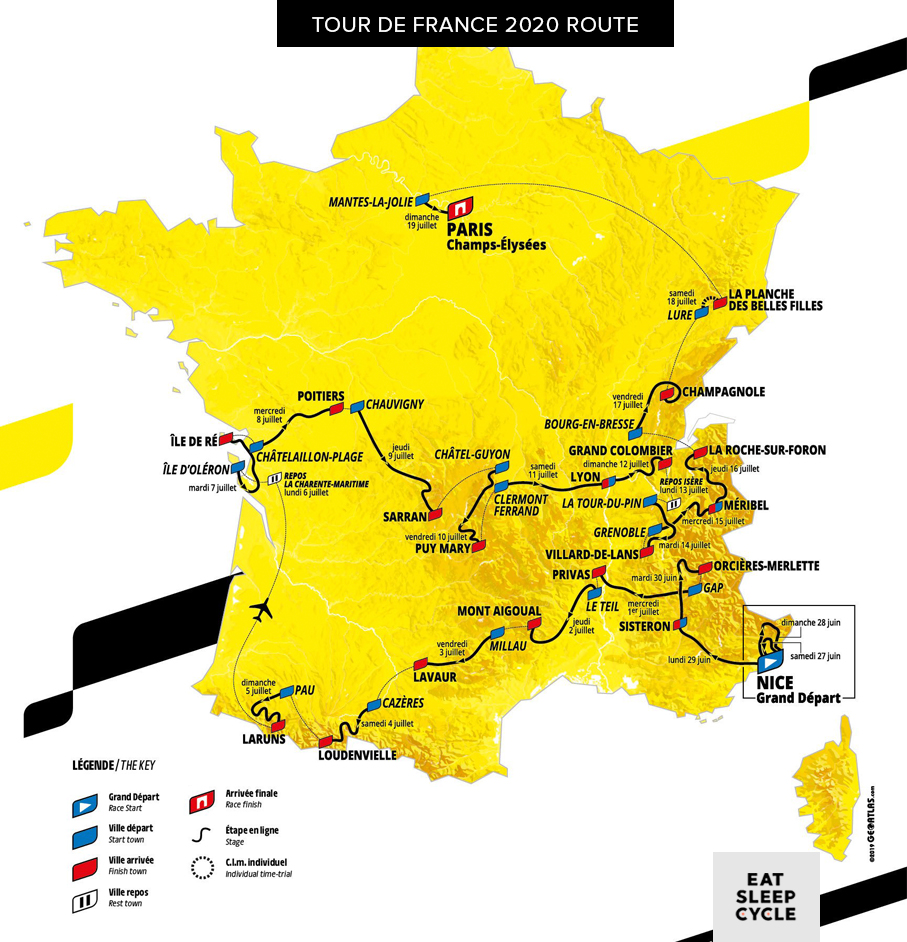 Tour de France 2020 Route - Eat Sleep Cycle