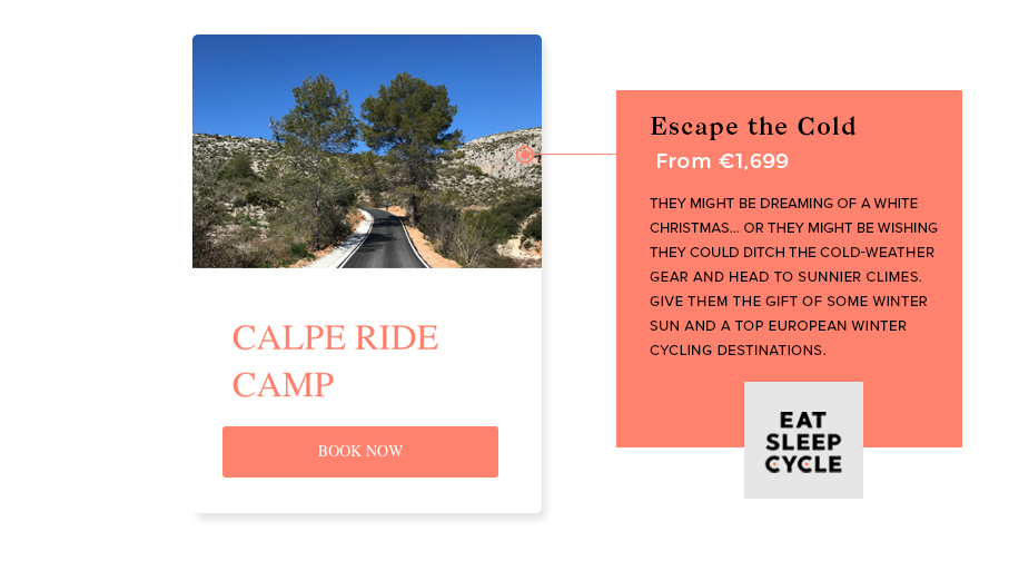 Christmas Gift for Cyclists - Winter Ride Camp Calpe