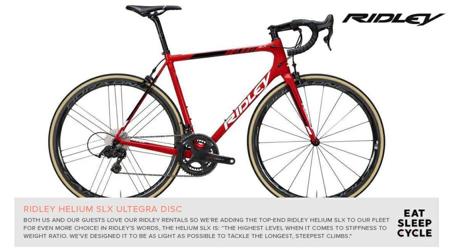 Ridley Helium Bike Rental - Eat Sleep Cycle