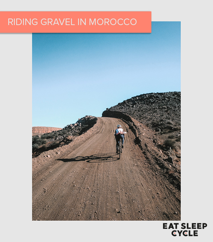Riding bikes in Morocco on gravel